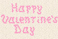Happy vilentine s day text typed by pink rose flowers on white roses background Stock Images