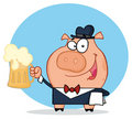 Happy waiter pig with beer Royalty Free Stock Images
