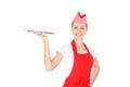 Happy waitress with a tray Royalty Free Stock Image