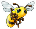 Happy waving cartoon bee Stock Photos