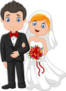 Happy wedding ceremony bride and groom.  illustration Royalty Free Stock Photo