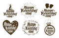 Happy Wedding day, label set. Married couple, love icon or logo. Lettering vector illustration