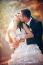 Happy wedding shot bride groom park Stock Photo