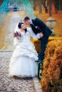 Happy wedding shot bride groom park Royalty Free Stock Photos