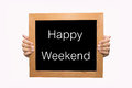 Happy weekend hand write word concept Stock Photos