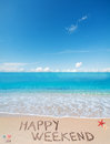 Happy weekend on a tropical beach under clouds Royalty Free Stock Photo