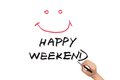 Happy weekend words written on white paper Stock Images