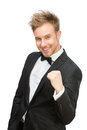 Happy white collar fists gesturing half length portrait of business man isolated on concept of success and peace Royalty Free Stock Photo