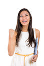Happy winner. success business woman, student celebrating screaming, joy winning. Royalty Free Stock Photo