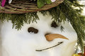 Happy winter snowman closeup Stock Photo