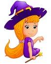 Happy witch Cartoon sitting Royalty Free Stock Photo