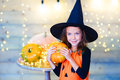 Happy witch children during Halloween party Royalty Free Stock Photo