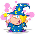 Happy wizard blonde girl waving magic wand Stock Photos