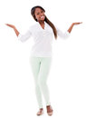Happy woman with arms open and smiling isolated over white background Royalty Free Stock Images