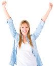 Happy woman with arms up Royalty Free Stock Image
