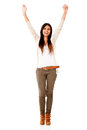 Happy woman with arms up Stock Image