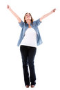 Happy woman with arms up enjoying her success isolated over white Royalty Free Stock Images