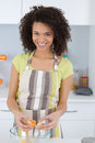 Happy woman baking in kitchen Royalty Free Stock Photo
