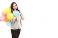 Happy woman with balloons many on her shoulder copy space for text message in right part of image Stock Photography