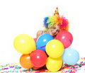 Happy woman with balloons over white Royalty Free Stock Photo