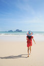 Happy woman on the beach in Krabi Thailand Stock Photography