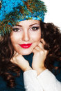 Happy Woman in Blue Knitted Cap and Knitwear - Warm Jersey Royalty Free Stock Photo