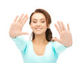 Happy woman bright picture of showing her palms Royalty Free Stock Photography
