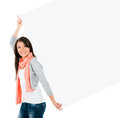 Happy woman carrying banner and smiling isolated over white background Stock Photography