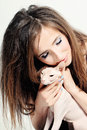 Happy woman and cat hairless sphynx Stock Photo