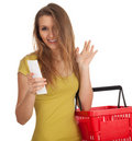 Happy woman  checking purchases list, waving hello Royalty Free Stock Photography
