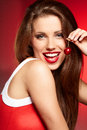 Happy woman with cherries Royalty Free Stock Images