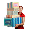 Happy woman with christmas gifts Stock Images