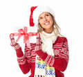 Happy woman with christmas present isolated over white background Royalty Free Stock Image