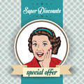Happy woman commercial retro clipart illustration with message Royalty Free Stock Photography