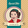 Happy woman commercial retro clipart illustration with message Royalty Free Stock Image