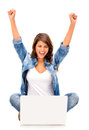 Happy woman with a computer Royalty Free Stock Photo