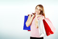 Happy woman copy space and a lot of shopping bags Royalty Free Stock Photo