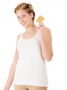 Happy woman with a credit card blonde young golden on white background Royalty Free Stock Photography