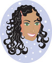 Happy Woman with Curly Wavy Hair. Stock Photography