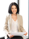 Happy woman with documents bright picture of Stock Image