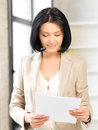 Happy woman with documents bright picture of Stock Photography