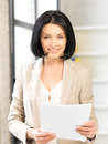Happy woman with documents bright picture of Royalty Free Stock Photos