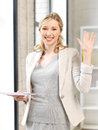 Happy woman with documents indoor picture of Royalty Free Stock Photos