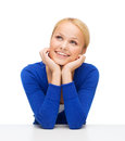 Happy woman dreaming hapiness and people concept smiling young Royalty Free Stock Image