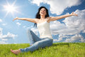 Happy woman dreams to fly on winds Stock Images