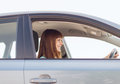 Happy woman driving a car transportation and vehicle concept Royalty Free Stock Photo