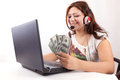 Happy Woman Earn Online Money Stock Photos