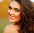 Happy woman enjoying nature beauty girl outdoor Royalty Free Stock Photo