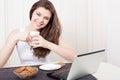 Happy Woman Enjoying Tea And C...