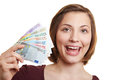 Happy woman with Euro money bills Royalty Free Stock Photos